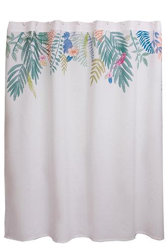 Cortina de baño tropical acuarela 180x180
