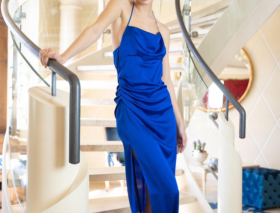 Abito drappeggio spacco blu