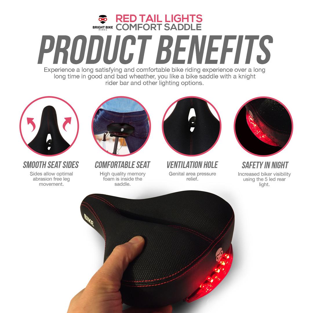 Bright Bike Rebel Red Tail Lights Comfort Saddle