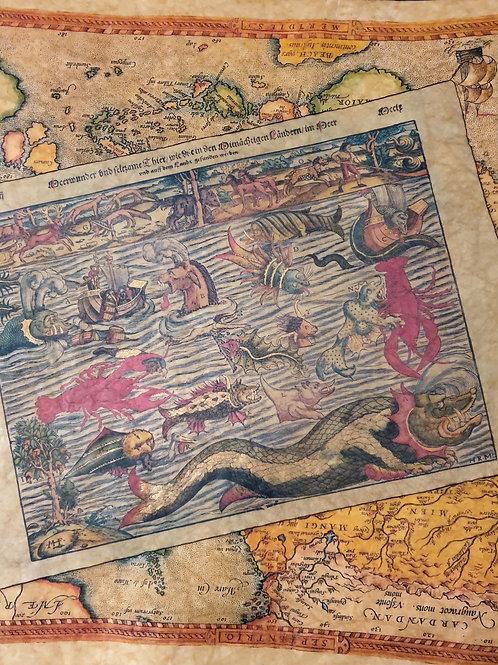 Map of Sea Monsters, Sebastian Munster, 1545