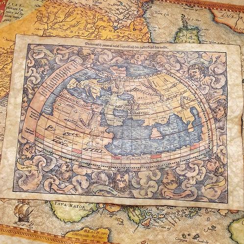 Ptolemaic world map by Sebastian Munster, 1544.