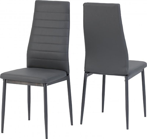 Abbey Chair in Grey Faux Leather