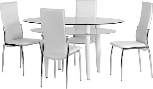 Berkley Dining Set in Clear Glass/Frosted Glass/White/White Faux Leather/Chrome