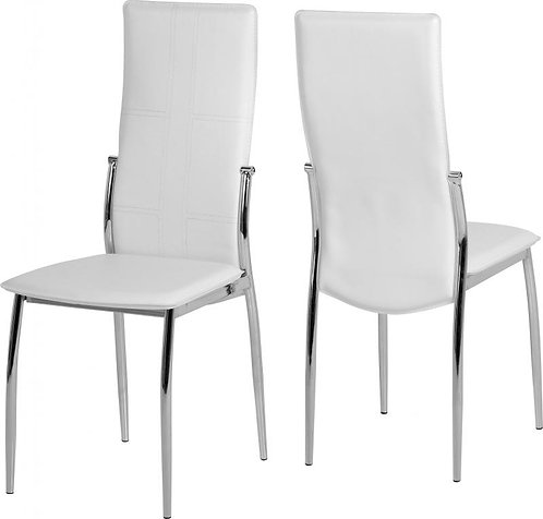 Berkley Chair in White Faux Leather/Chrome