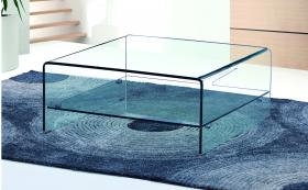 Angola Clear Square Coffee Table with Shelf