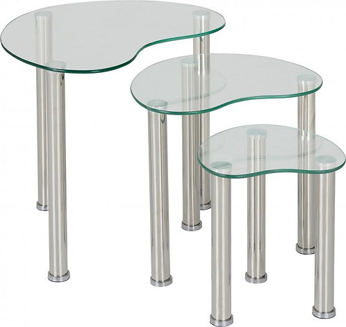Cara Nest of Tables in Clear Glass/Silver