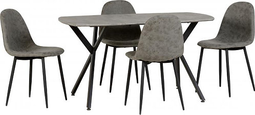 Athens Dining Set in Concrete Effect/Black/Grey Faux Leather