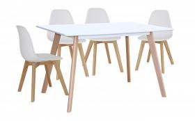 Belgium Large Dining Table White with 4 Belgium Chairs