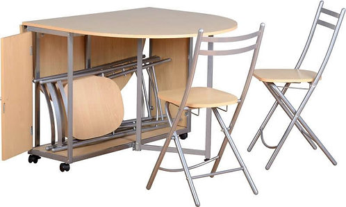 Budget Butterfly Dining Set in Beech/Silver