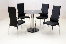 Alonza Black Dining Set 4 Chairs