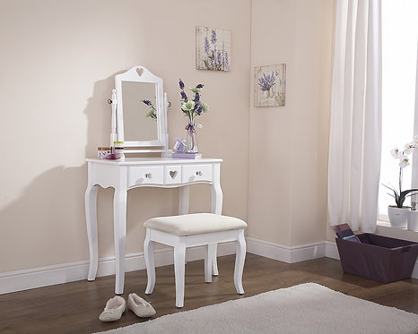 HEART DESIGN Dressing Table & Stool Set