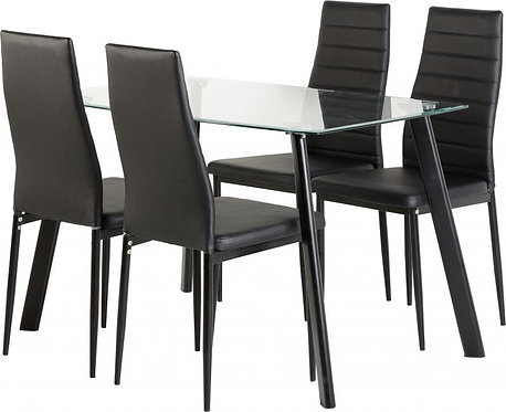 Abbey Dining Set in Clear Glass/Black/Black Faux Leather