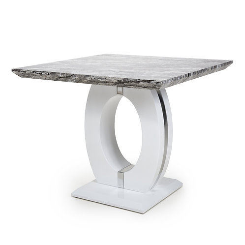 NEPTUNE SQUARE MARBLE EFFECT TOP HIGH GLOSS GREY/WHITE DINING TABLE