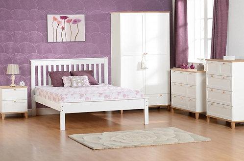 Arcadia 2 Door 1 Drawer Wardrobe in White/Ash Effect Veneer