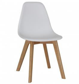 Belgium Plastic (PP) Chairs with Solid Beech Legs White