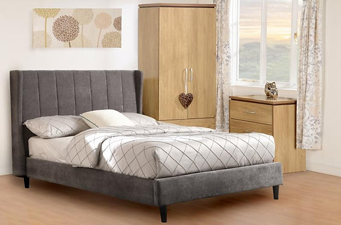 "Amelia 4'6"" Bed in Dark Grey Fabric"