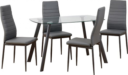 Abbey Dining Set in Clear Glass Grey Faux Leather