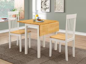 Atlas (Amber) White Dropleaf Dining Set with 2 Chairs