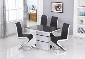 Aldridge Small High Gloss Dining Table White with Black Glass Top