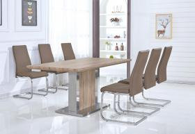 Belize Dining Table Natural & Stainless Steel with 6 Chairs