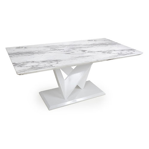 SATURN LARGE MARBLE EFFECT TOP HIGH GLOSS GREY/WHITE DINING TABLE