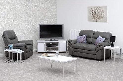 Charisma 2 Door TV Unit in White Gloss/Chrome