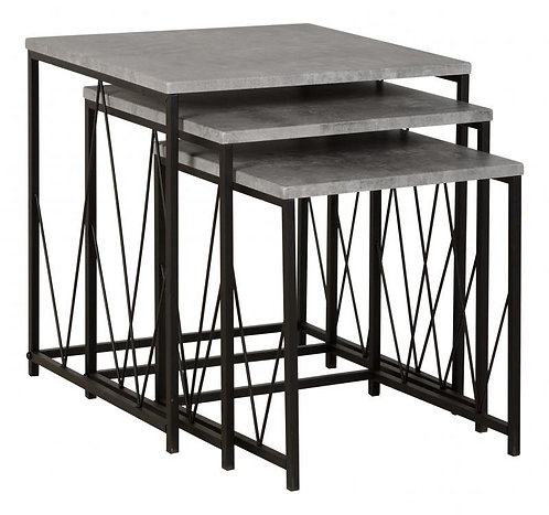 Athens Nest of Tables in Concrete Effect/Black