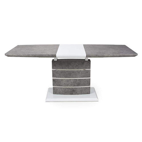 ATLAS LARGE EXTENDABLE GREY/WHITE GRANITE EFFECT DINING TABLE