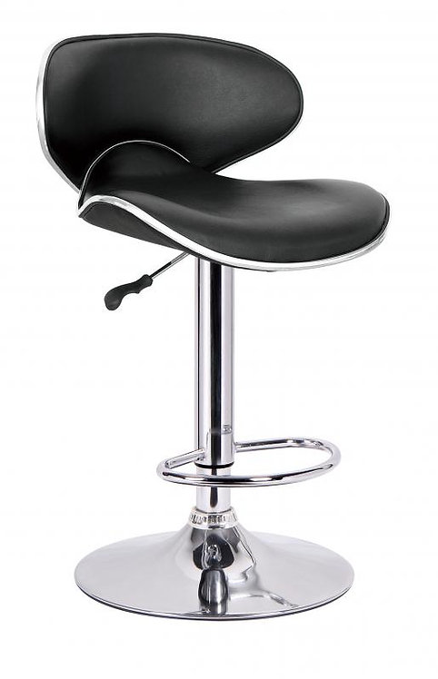 Bahama Swivel Bar Chair With Gas Lift in Black Faux Leather/Chrome