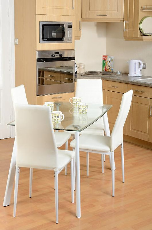 Abbey Dining Set in Clear Glass/White/White Faux Leather