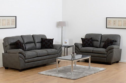 Capri 3+2 Suite in Grey Faux Leather