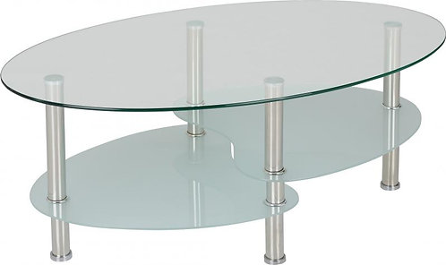 Cara Coffee Table in Clear Glass/Frosted Glass/Silver
