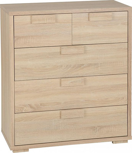 Cambourne 3+2 Drawer Chest in Sonoma Oak Effect Veneer