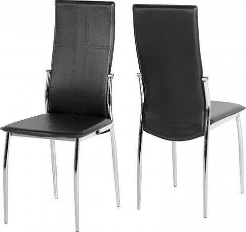 Berkley Chair in Black Faux Leather/Chrome