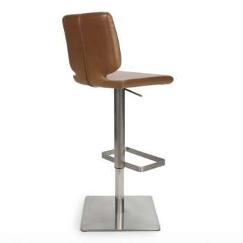 SKYPOD SQUARE BACK LEATHER EFFECT URBAN TAN BAR STOOL