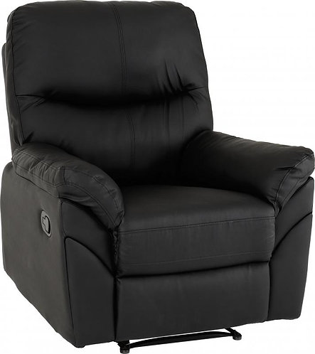 Capri Reclining Chair in Black Faux Leather