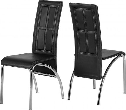 A3 Chair (2PC) in Black Faux Leather/Chrome