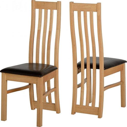 Ainsley Chair in Oak Veneer Brown Faux Leather