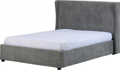 "Amelia Plus 4'6"" Storage Bed in Dark Grey Fabric"