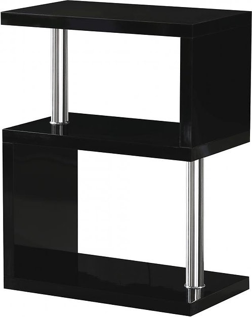 Charisma 3 Shelf Unit in Black Gloss/Chrome