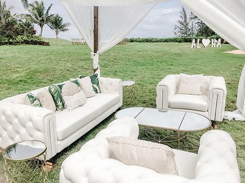 White Tufted Styled Lounge