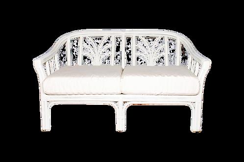 White Rattan Love Seat