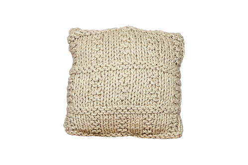 Large Beige Knit Pillow