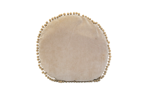 Tan Round Pillow with Pom Fringe