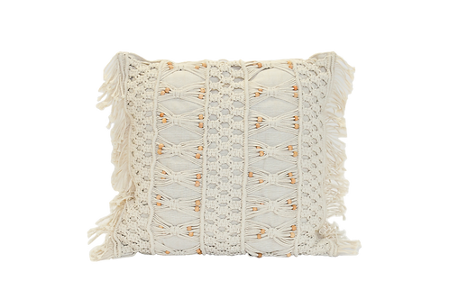 Large Beaded Macrame Pillow
