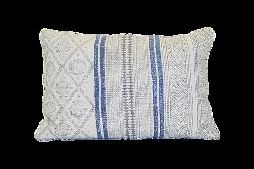 Woven Blue Striped Pillow