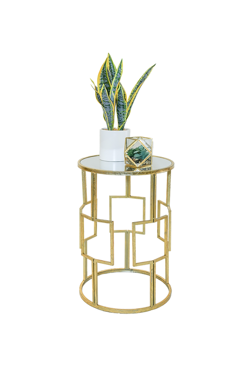 Brass Mirrored Side Table