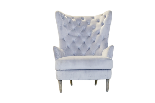 Grey High Back Velvet Chair