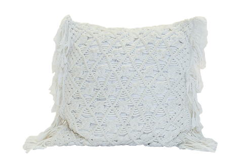 Large White Macrame Pillow with Fringe