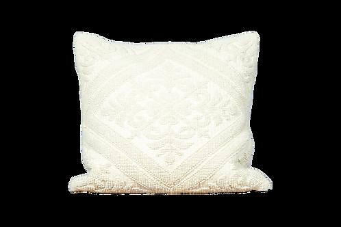 White Ornate Textured Pillow